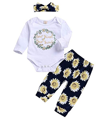 3Pcs Newborn Baby Girls Boys Romper Sunflowers Print Outfit Set Boys Girls Long Sleeve Bodysuit Clothes Set (White B, 18-24 Months)
