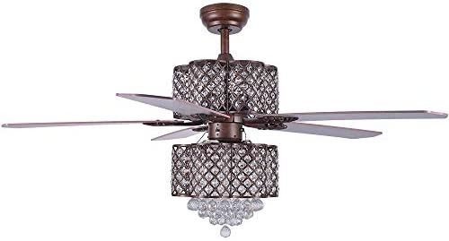 Crystal Ceiling Fan with Lights, Morpholife 52 inch Remote Control Modern Chandelier with 5 Wood Reversible Blades For Home Decoration Living Room