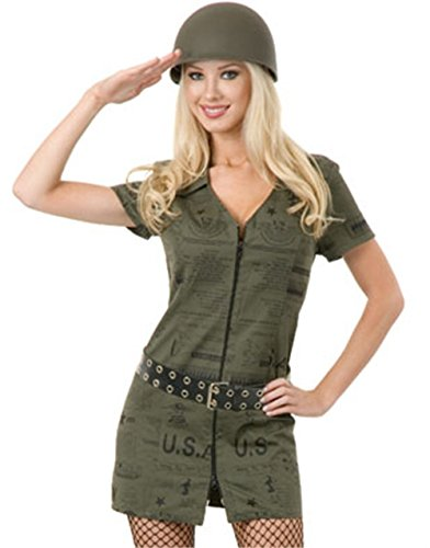 Women's Small 5-7 Sexy Green Double Zip GI Dress Army Soldier - Double Zip Gi Dress