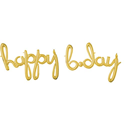 B Day Ballons (Anagram Happy Bday Gold Script Phrase Air Filled Foil)