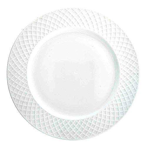 (Trellis White Dinner Plates (Set of 4) | Fine Bone China |)