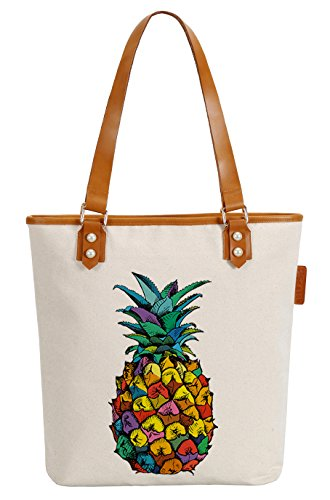 So'each Women's Colourful Pineapple Canvas Tote Pearly Top Handle Shoulder Bag