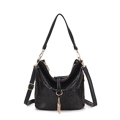 Black Shoulder Snake Bags Bag Female Jeans Serpentine Woman Leather Big Pattern Availcx Tassel Bag Red Woman Bq5wOTC