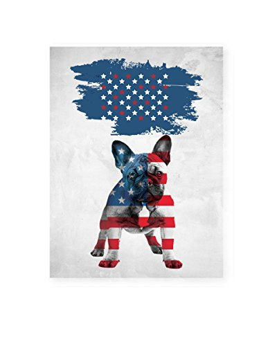 Pekatees American Flag with French Bulldog Canvas USA Flag Wall Decor for Dog Lovers Gift Ideas USA Flag Canvas Bulldog Wall Art Patriotic USA Wall Decor Gifts 24