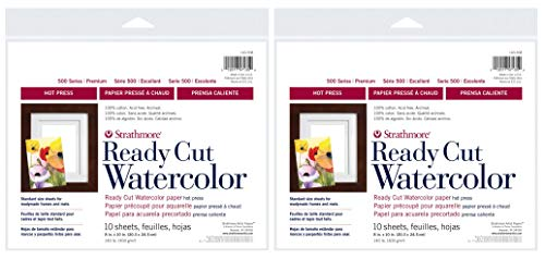 2-Pack - Strathmore 500 Series Hot Press Ready Cut Watercolor Sheet Pack, 8