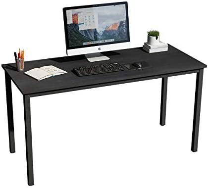 soges 55 inches Large Desk Computer Desk Home Office Table Writing Desk Study Table Computer Workstations, GC-P2AC3-140BK