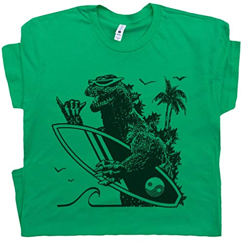 Youth L - Vintage Surfing T Shirt Cool Green Dinosaur Surfer Tee Japan 70s 80s 90s Retro Surfboard Graphic Men Women Kids