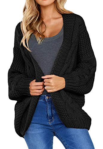 Shawhuwa Womens Cozy Warm Knit Cardigan Coats Open Front Solid Cable Long Wide Sleeve Loose Fit Sweater Outerwear Black S