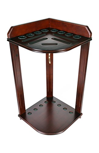 Pool-Cue-Rack-Only-Billiard-Stick-Stand-Holds-8-Cues-Ball-Set-Choose-Oak-or-Mahogany-Finish
