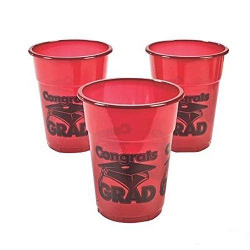 Drink Cups 25 Red Congrats Graduation Cups - Size 20 Oz
