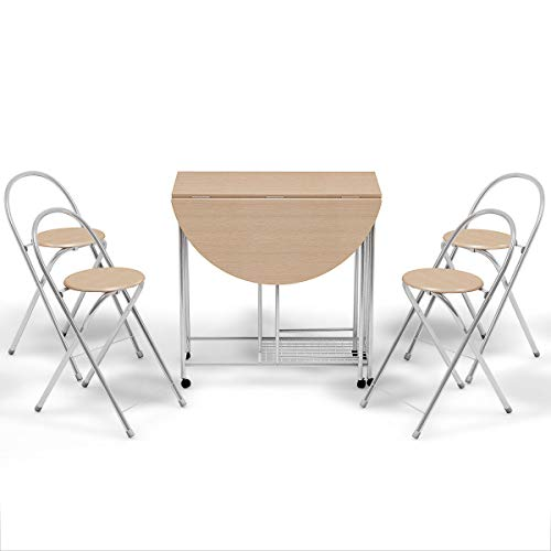 - Foldable Dining Set Table and 4 Chairs Breakfast Kitchen Furniture 5 PC
