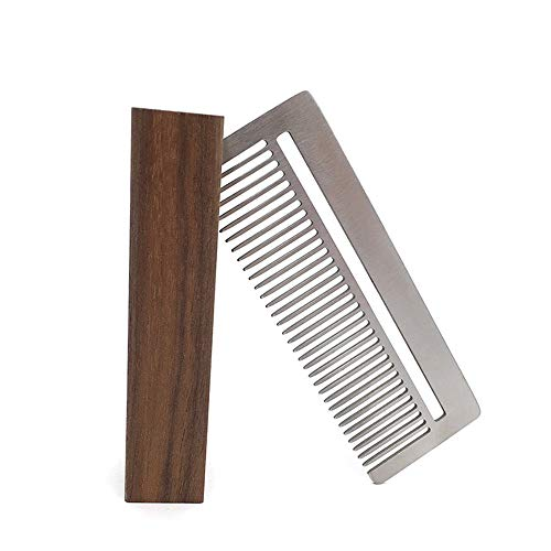 (Pro Salon Hair Beard Cleansing Comb Stainless Steel Anti-Static Ultra-Thin M9W1)