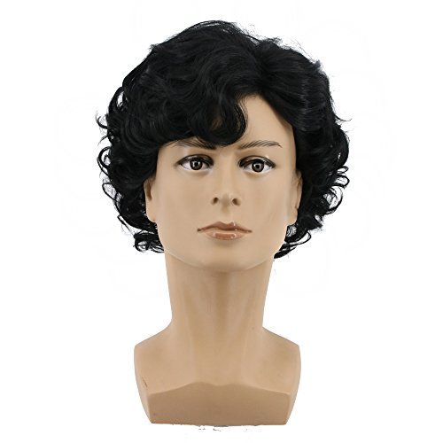 Yuehong Short Curly Black Mens Wig Cosplay Wigs Halloween Cosplay Costume -