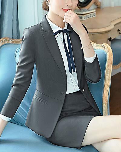Blazer Lunghe Pezzi Da Grigio1 A Capispalla Due Giacca Business Abito Sportiva Elegante Maniche Donna xq1XPFP