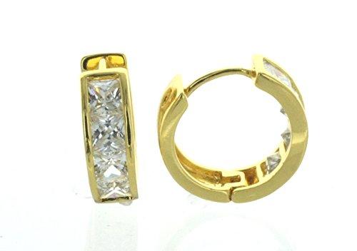 Yellow Gold Tone Huggie Hoop Earrings with Small Princess Cut Simulated Diamonds (10k Gold Tone Earrings)