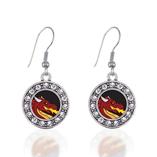 Inspired Silver - Fire Breathing Dragon Charm Earrings for Women - Silver Circle Charm French Hook Drop Earrings with Cubic Zirconia Jewelry