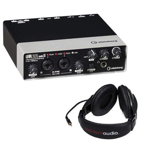 Steinberg UR22mkII USB 2.0 Audio Interface with Dual Microphone Preamps with R100 Stereo Headphones (Black)