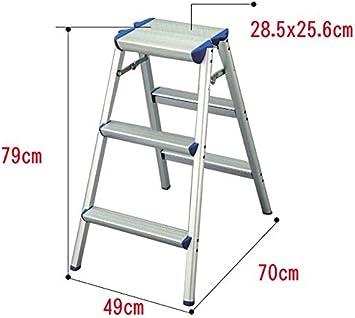 GYX Escalera de aluminio, plegable con peldaños resistentes y antideslizante para uso doméstico, 2 pasos / 3 pasos, nivel de carga 100 kg, Escalera de 3 peldaños: Amazon.es: Bricolaje y herramientas