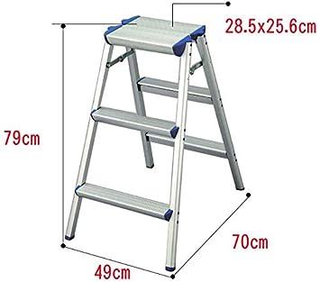 GYX Escalera de aluminio, plegable con peldaños resistentes y ...