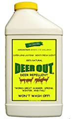 Deer Out is an all natural, pleasant smelling, super long lasting Deer Repellent that is absolutely guaranteed to stop deer from eating your flowers, shrubs, vegetable plants, row crops,trees and vines. 100% money back guarantee. We are certa...