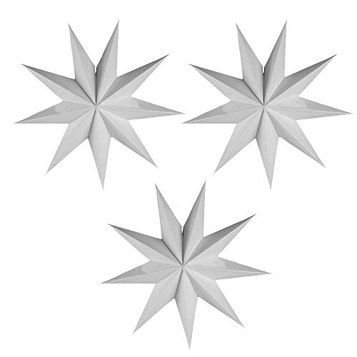 EOPER 3 Pieces 9 Pointed Paper Star Lanterns 12 Inch Hanging Lampshade for LED Light Wedding Birthday Party Decor, White -