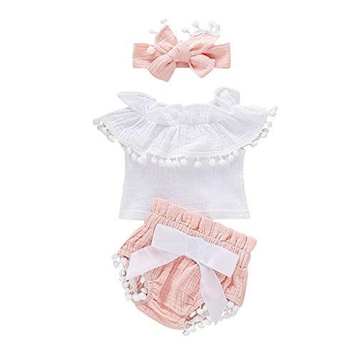NUWFOR Romper Infant Baby Girls Sleeveless Ruffles Solid Tops+Tassels Shorts Headband Outfits(Pink,3-6 Months)]()
