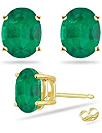 0.69-0.90 Cts of 6x4 mm AA Oval Natural Emerald Stud Earrings in 14K Yellow Gold - Valentine's Day Sale