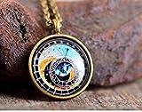 Astronomical Clock Necklace, Prague Clock Necklace, Glass Pendant, Prague Clock Pendant, Brass Necklace, Glass Necklace, Steampunk Necklace