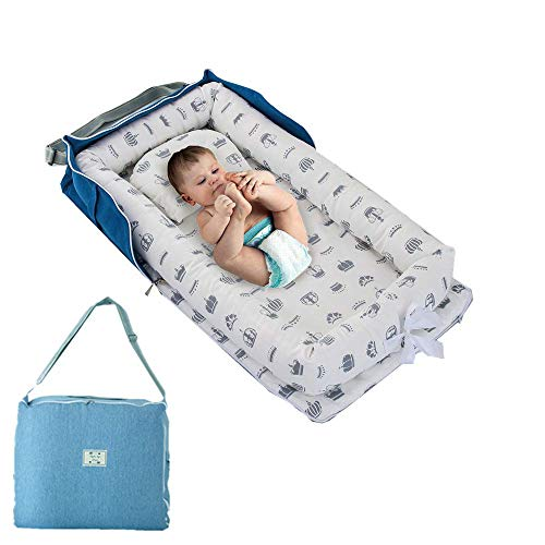 Crown Baby Nest Bed with Bag,Baby Lounger Gray Crown Baby Bassinet Bed Baby Cocoon Snuggle Bed(0-24 Months) -Breathable & Hypoallergenic