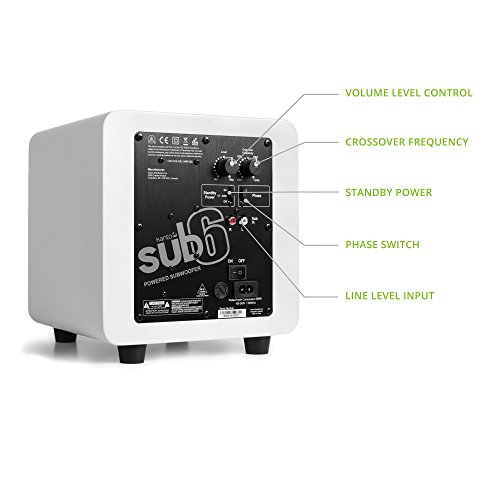 "Kanto SUB6GW 6"" 80W Powered Subwoofer Gloss White"