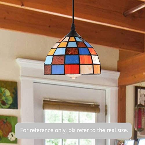 HMVPL Tiffany Style Pendent Ceiling Light with 16.4 Ft Plug in Cord and On Off Dimmer Switch, Retro Multicolored Swag Hanging Lamp for Kitchen Island, Dining Room or Living Room 8.1 Width