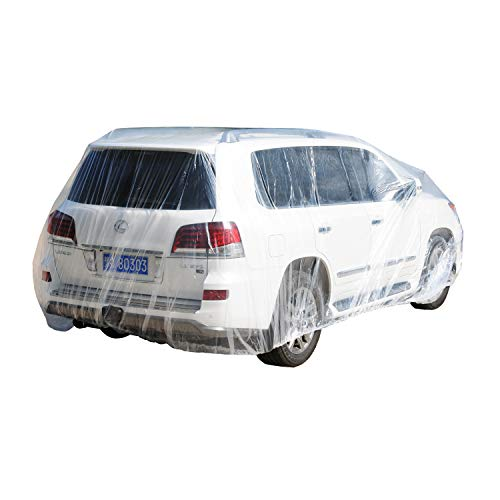 TopSoon Transparent Plastic Car Cover with Elastic Band Waterproof Disposable Car Cover SUV Cover Extra Large Size 24-Feet by 16-Feet