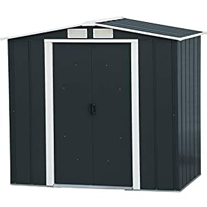 Duramax-ECO-6-x-4-Hot-Dipped-Galvanized-Metal-Garden-Shed-Anthracite-with-Off-White-Trimmings-15-Years-Warranty