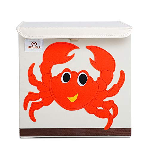 Pasutewel Kids Storage Box, Large Capacity Foldable Cartoon Canvas Cube Organiser For Clothes, Shoes, Toys (Crab)