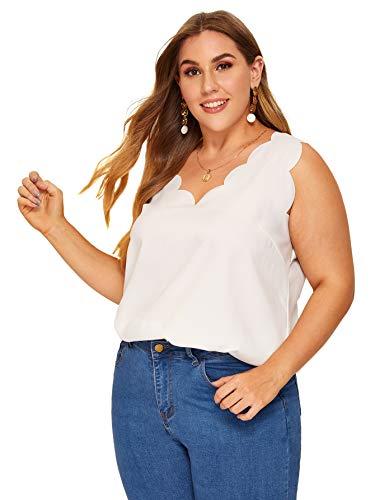 (Romwe Women's Plus Casual V Neck Sleeveless Scallop Edge Vest Tank Top White 1X)