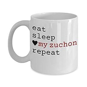 """Zuchon Mug - """"Eat Sleep Love My Zuchon Repeat"""" Coffee Cup - Special Zuchon Dog Gift 5"""