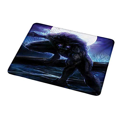 Gaming Mouse Fantasy World,Surreal Werewolf with Electric Eyes in Full Moon Transformation Folkloric,Purple Blue,Customized Rectangle Non-Slip Rubber Mousepad Gaming Mouse Pad 9.8