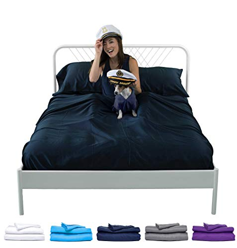 Sheets & Giggles Eucalyptus Lyocell Sheet Set. Compared with Cotton, Our Sheets are Softer, More Breathable, More Cooling, and Sustainable Too- No Sheet. Hypoallergenic, Deep Pockets. Queen Navy