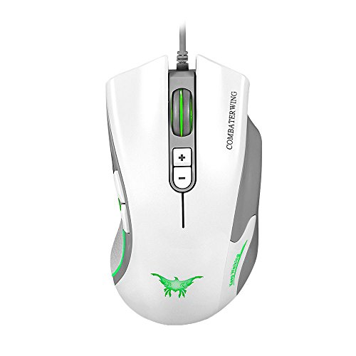 Optical Usb Pc Mac (VersionTech CW10 Ergonomic Gaming Mouse Wired Optical Mouse USB Mice with Adjustable 4800 DPI for Laptop Mac Computer PC Gaming(White))