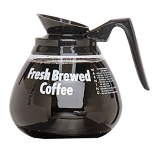 TableTop King 98000 64 oz. Glass Coffee Decanter with Black Handle - 24/Case