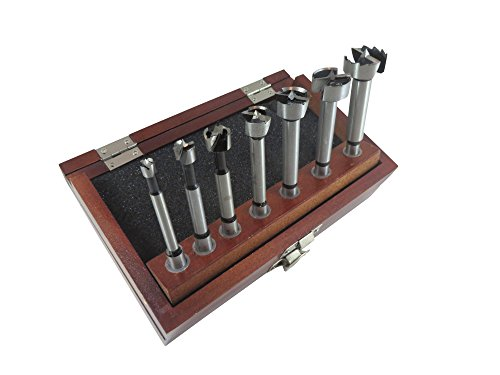 """(7 Piece Forstner Drill Bit Set with Bits from 1/4"""" to 1"""" by 1/8ths Hardened Carbon Steel in Wooden Storage Box 402000)"""