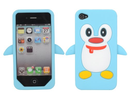 Leegoal Baby Blue Cute Penguin Animal Silicone Case for IPhone 4 4S