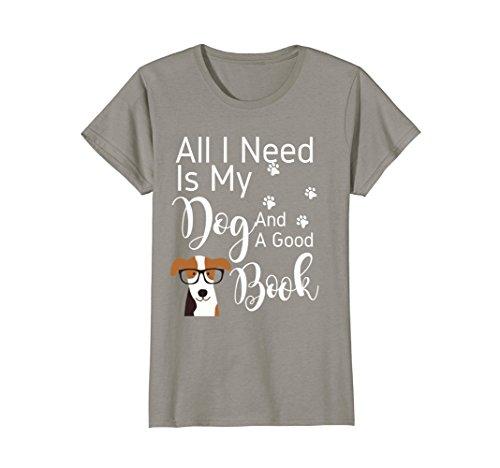 Womens I love My Dog T-Shirt Reading Book Lover Shirt Medium Slate (Tee Mens Dog)