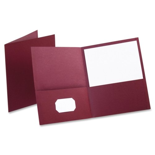 Oxford Twin Pocket Folders - Letter - 8.50quot; Width x 11quot; Length Sheet Size - 100 Sheet Capacity - 2 Pockets - Leatherette Paper - Burgundy - (Burgundy Leatherette Cover)