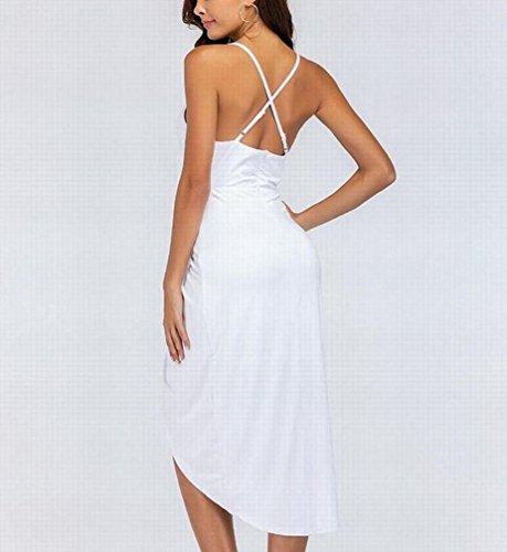 Domple Femmes Sexy À Fines Bretelles V-cou Oscillation Irrégulière Robe De Glissement Club Bander Blanc