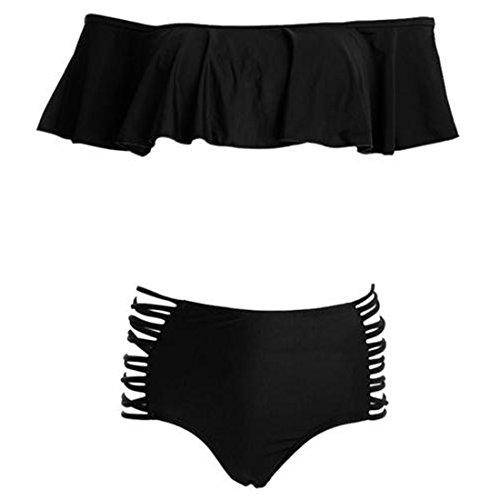 QIYUN.Z Mujeres Falbala Bandeau Bikini De Alta Cintura Traje De Baño Traje De Baño De Dos Piezas Negro