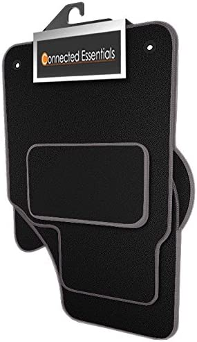 Connected Essentials 5030853 Tailored Heavy Duty Custom Fit Car Mats Premium Black with Grey Trim