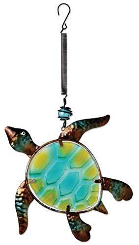 Sunset Vista Designs Metal and Glass Sea Turtle Bouncy Hanging Decoration Hanging Yard Art
