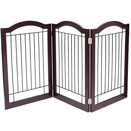 Internets Best Wire Dog Gate with Arched Top | 3 Panel | 30 Inch Tall Pet Puppy Safety Fence | Fully Assembled | Durable Wooden | Folding Z Shape Indoor Doorway Hall Stairs Free Standing | Espresso