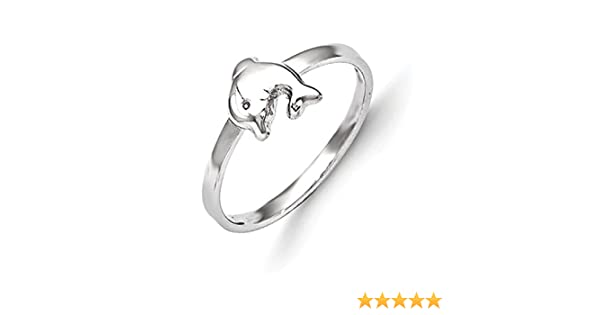 Jewelry Pilot Sterling Silver Rhodium Plated Polished Dolphin Baby Bangle